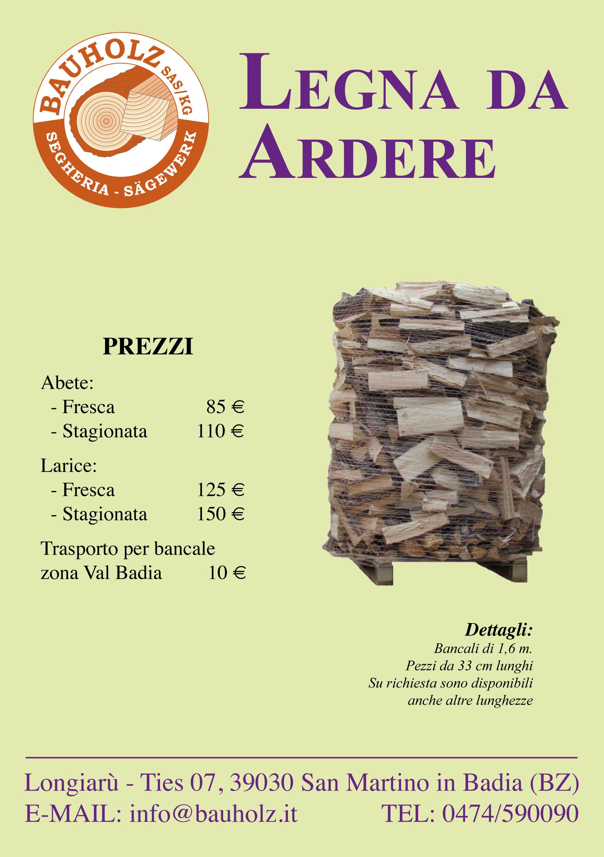 listino prezzi legna da ardere
